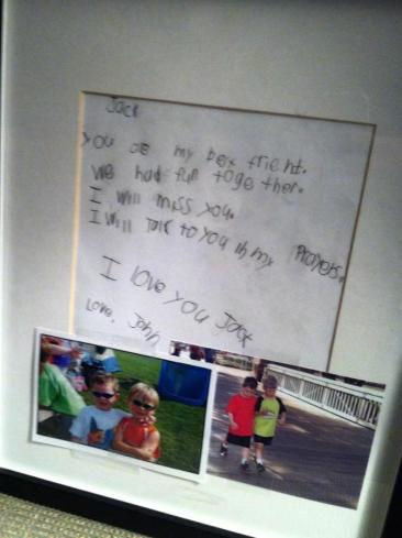 A letter a first grader wrote to his friend, Jack Pinto, who was lost of Friday. This photo has become a sensation on Facebook.