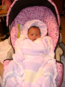 My beautiful niece on her way home from the hospital