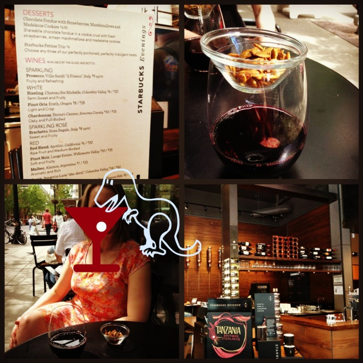 The after hours menu, wine served with roasted pine nuts, a dino drinking wine covering my face and the inside of the Starbucks
